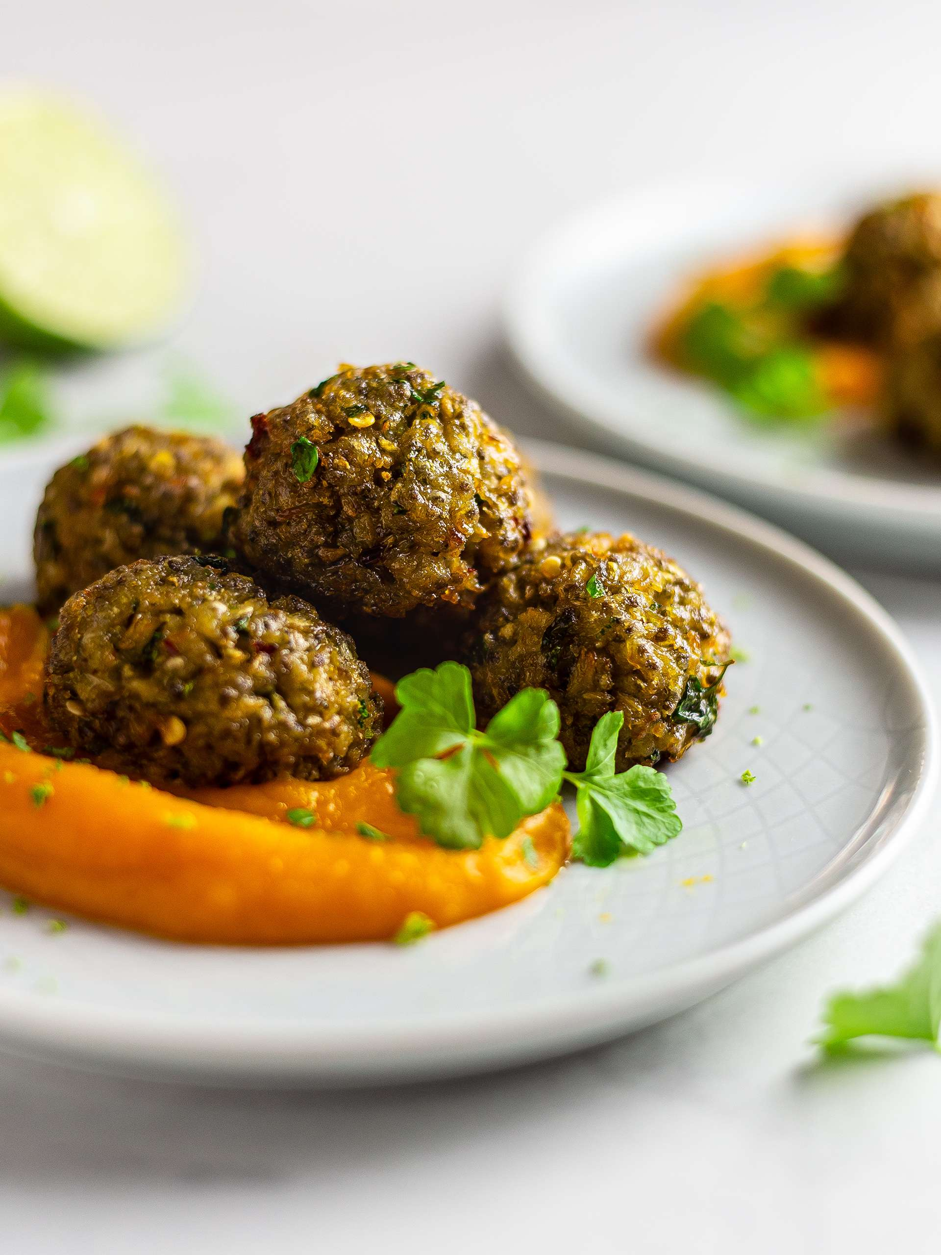 {Vegan, GF} King Oyster Mushroom Meatballs Thumbnail