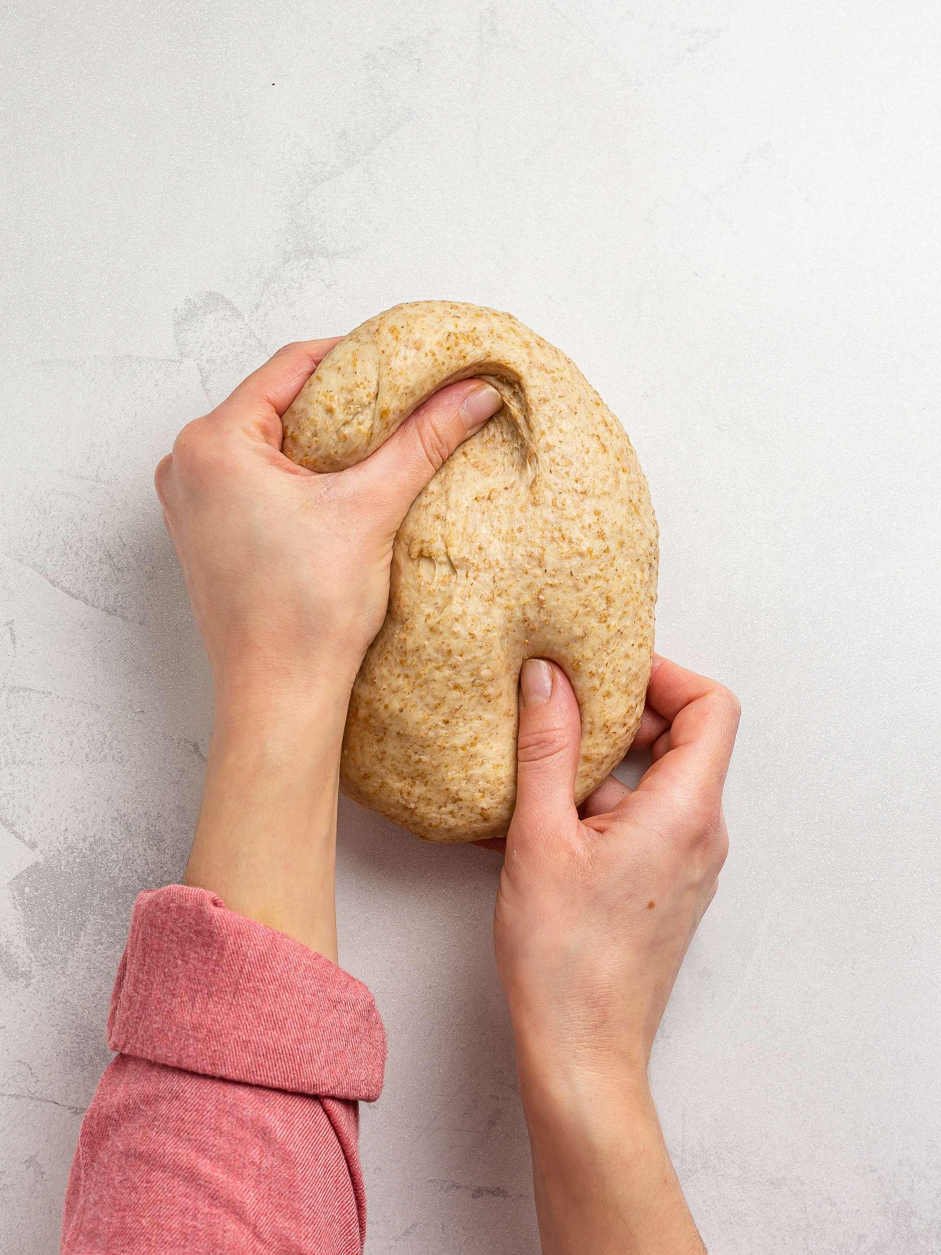kneading krantz cake dough