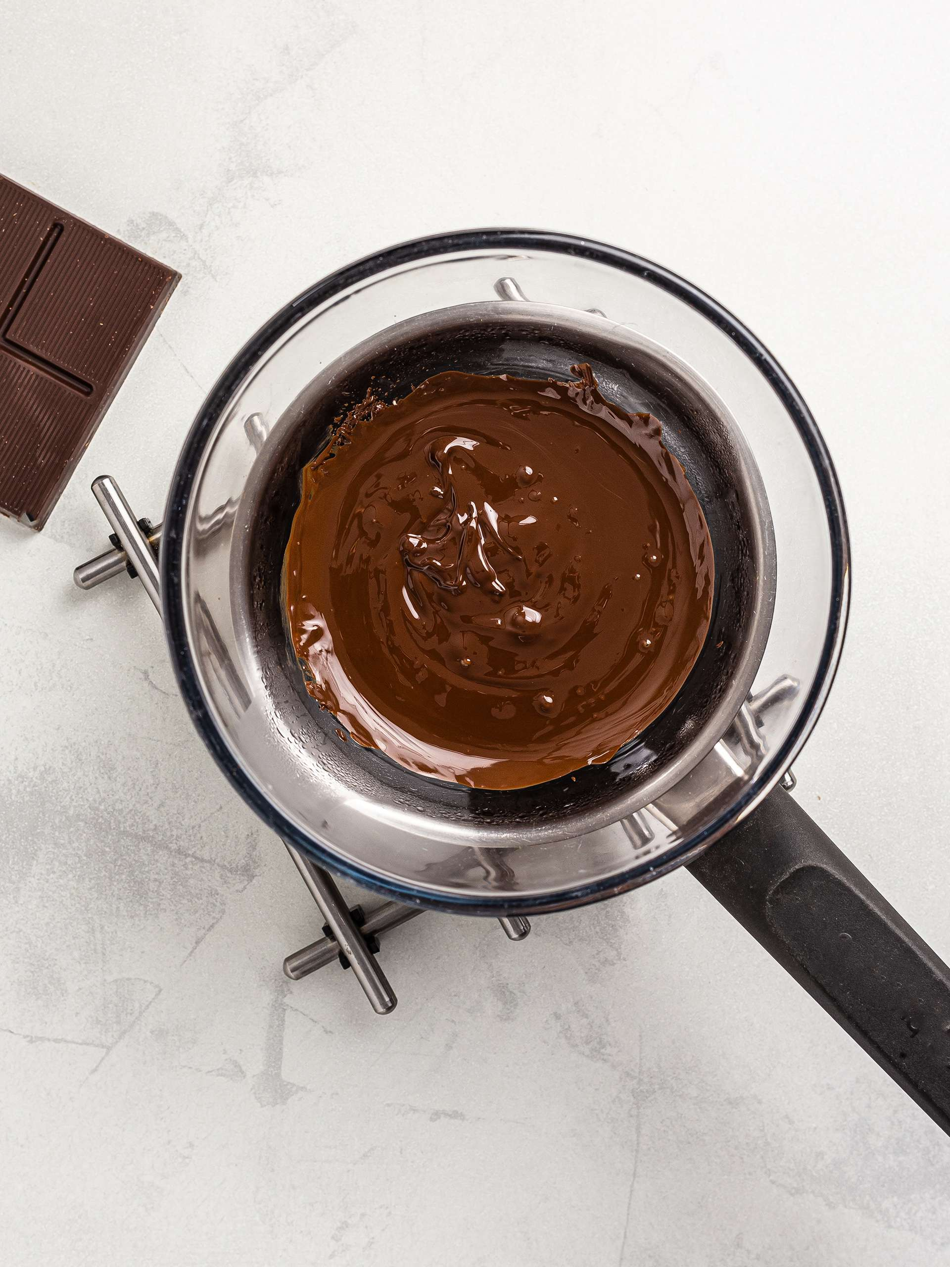 dark chocolate melted over a double boiler