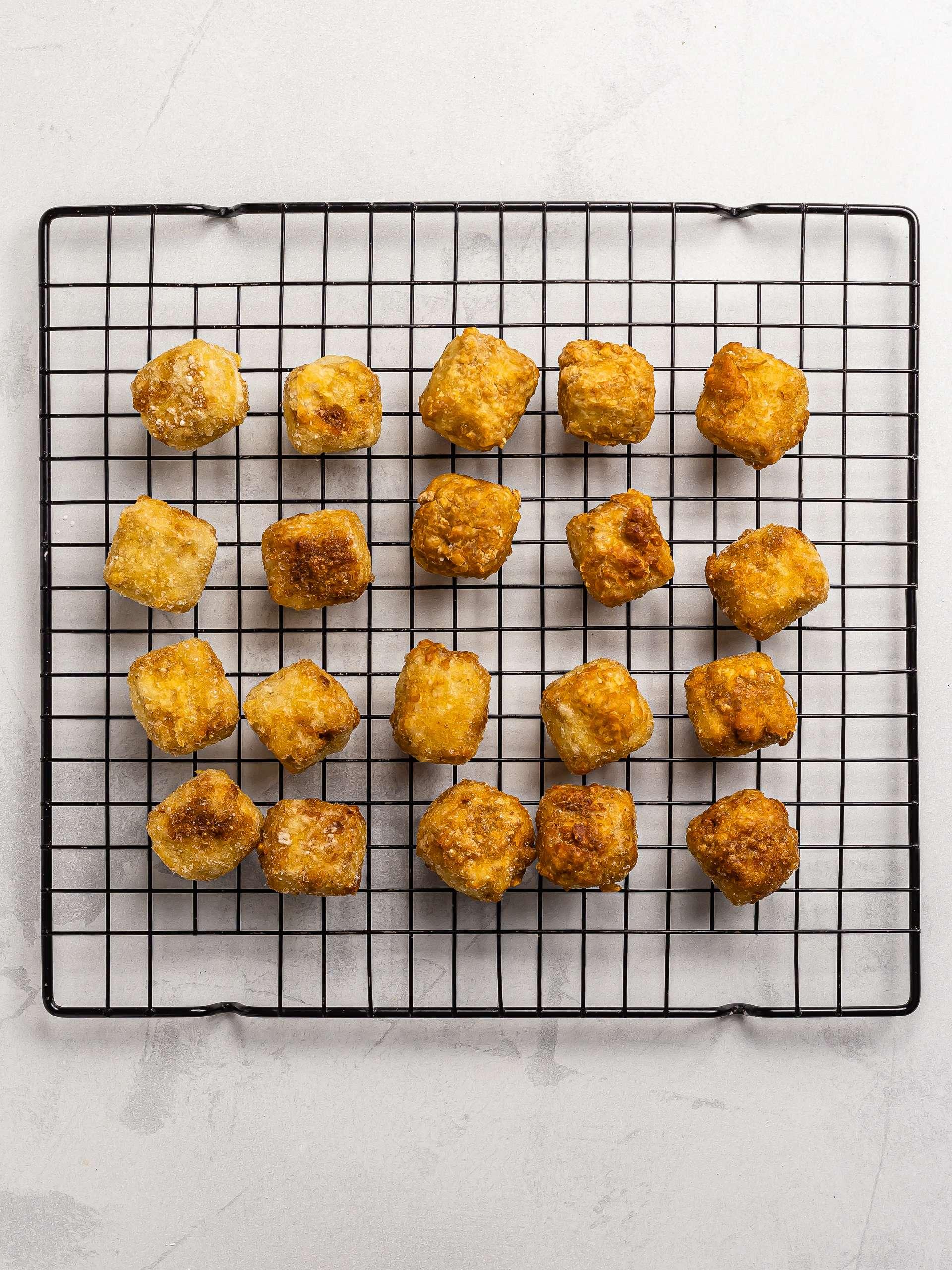 fried tofu karaage on a rack