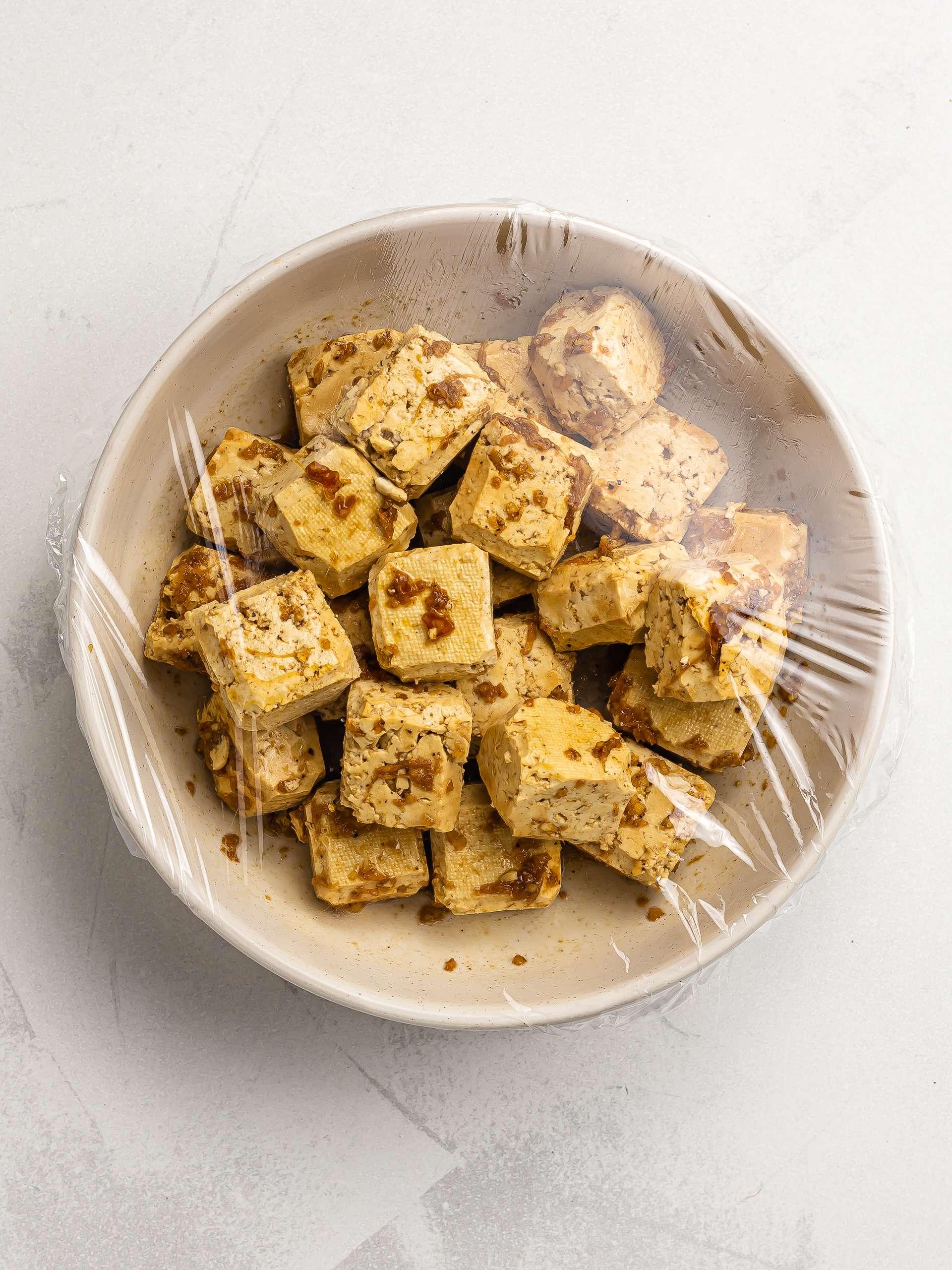 tofu marinated in karaage marinade