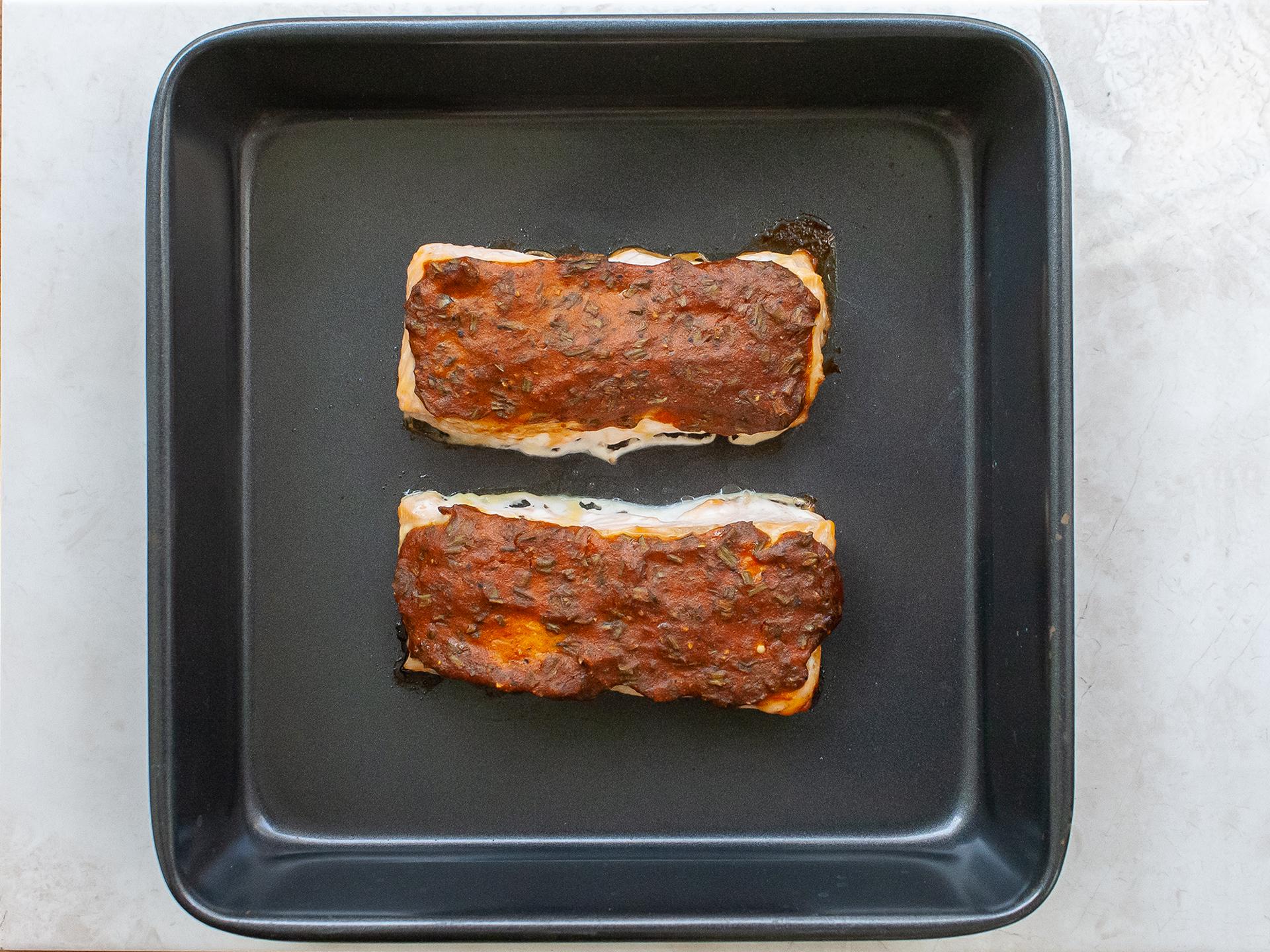Baked honey mustard glazed salmon