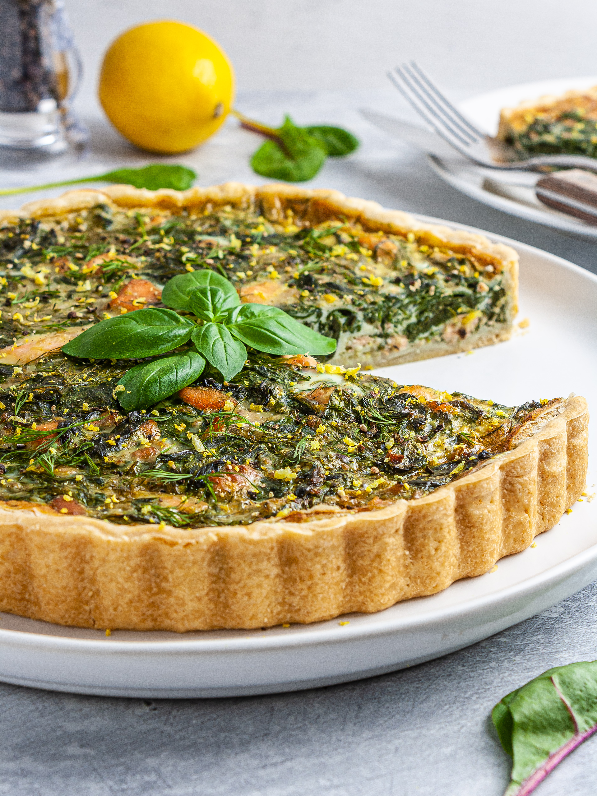 Dairy-Free Salmon and Spinach Quiche Recipe Thumbnail