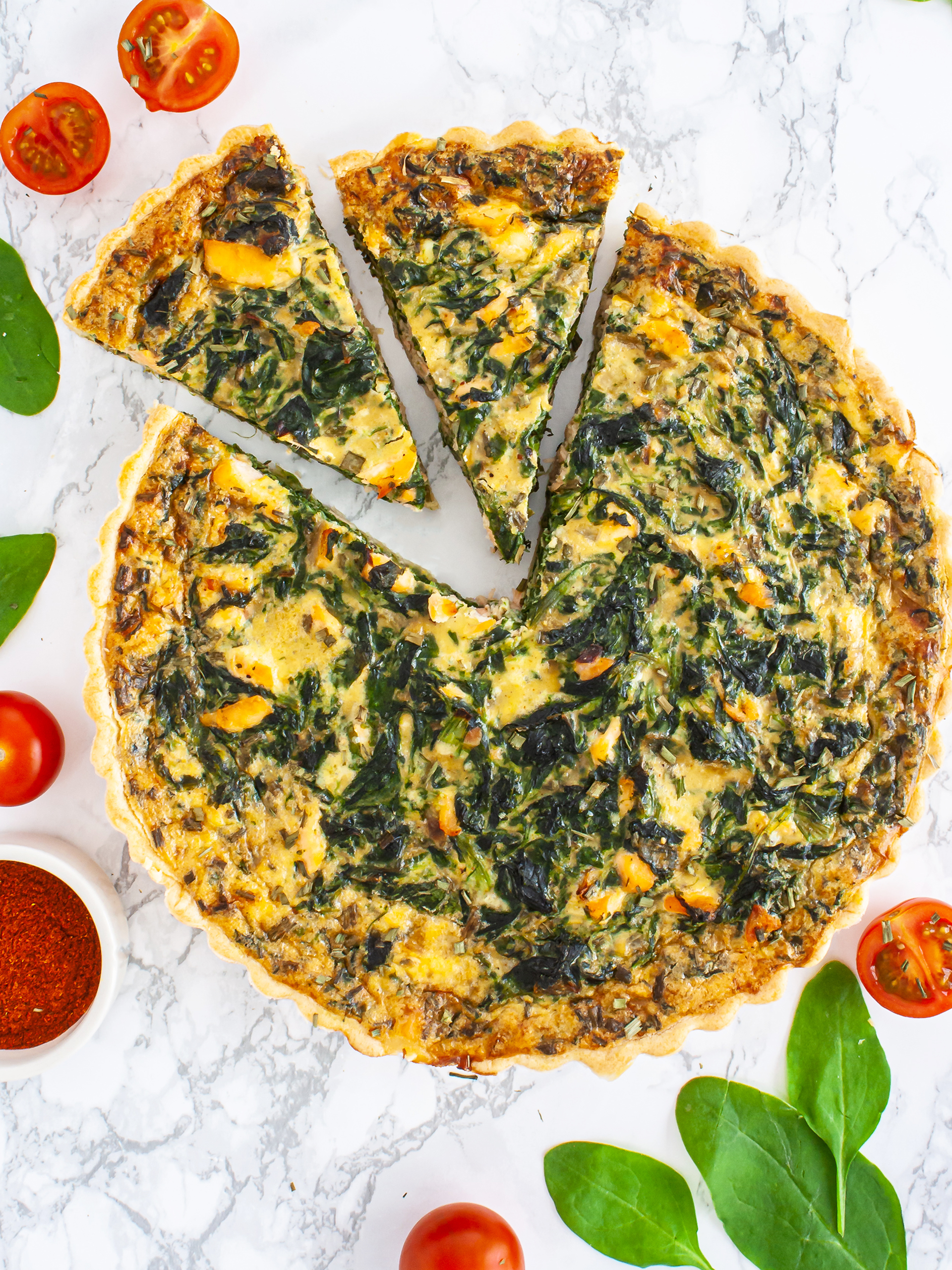 Dairy Free Salmon and Spinach Quiche Recipe Thumbnail