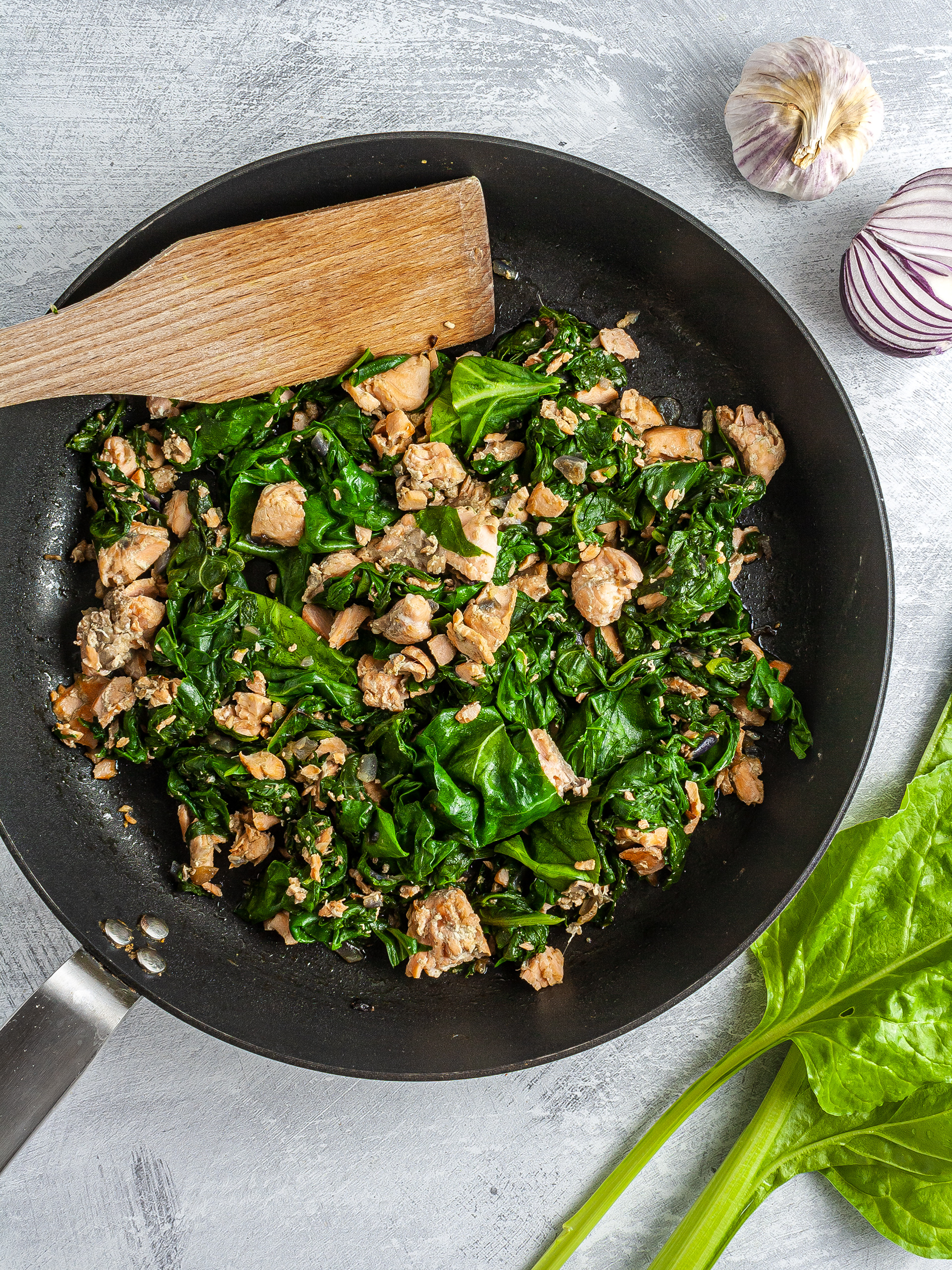 Cooked spinach and salmon