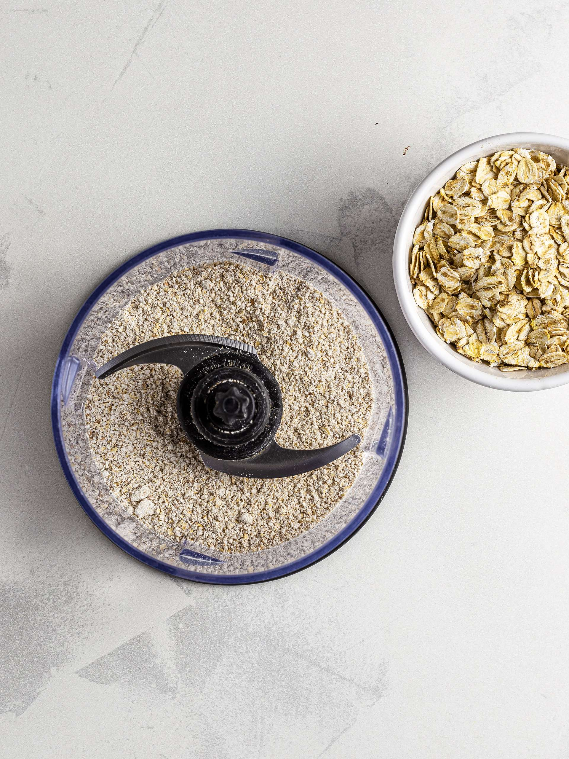 Ground oats in a blender
