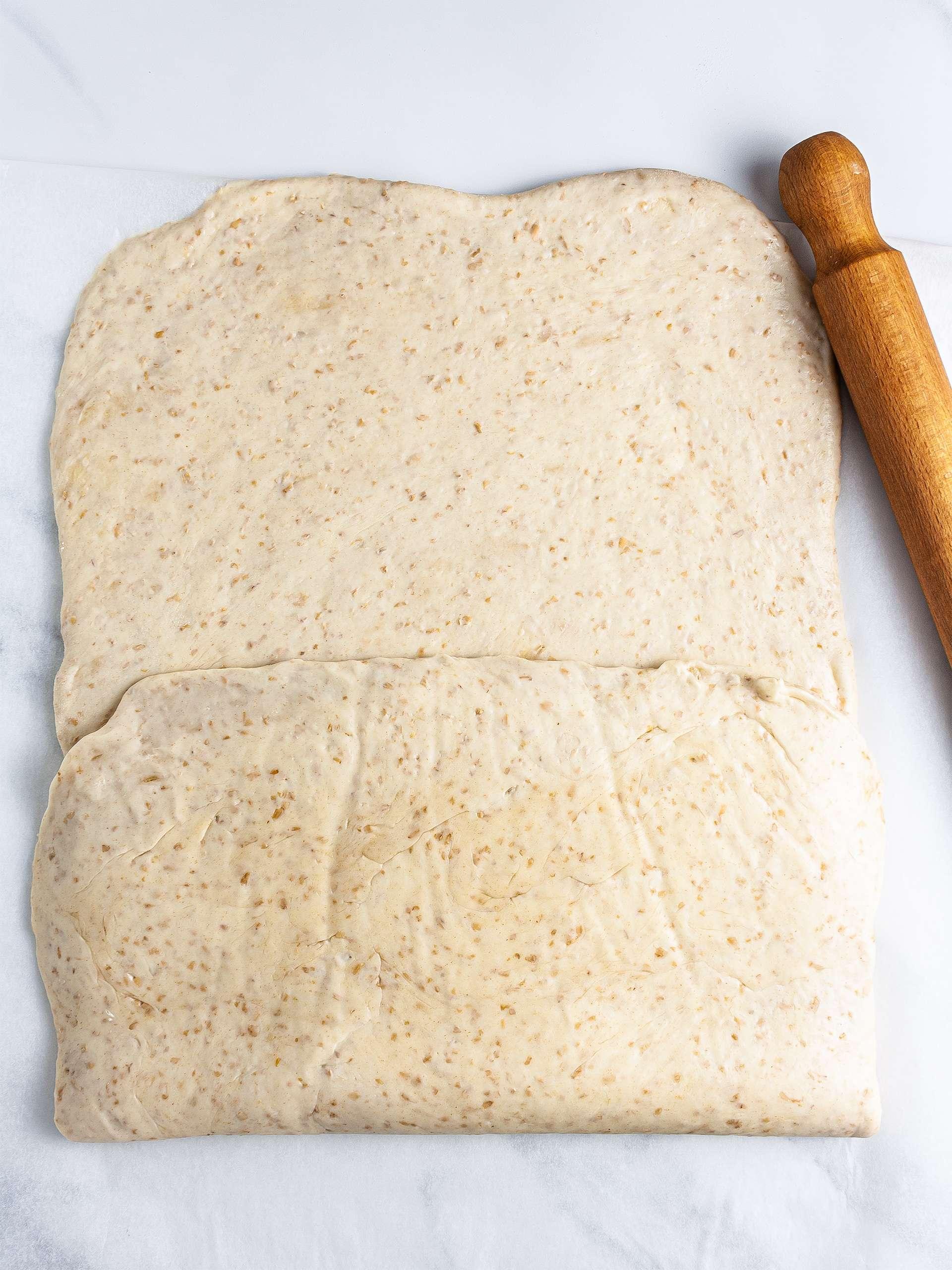 Folded dough according to tri-fold technique