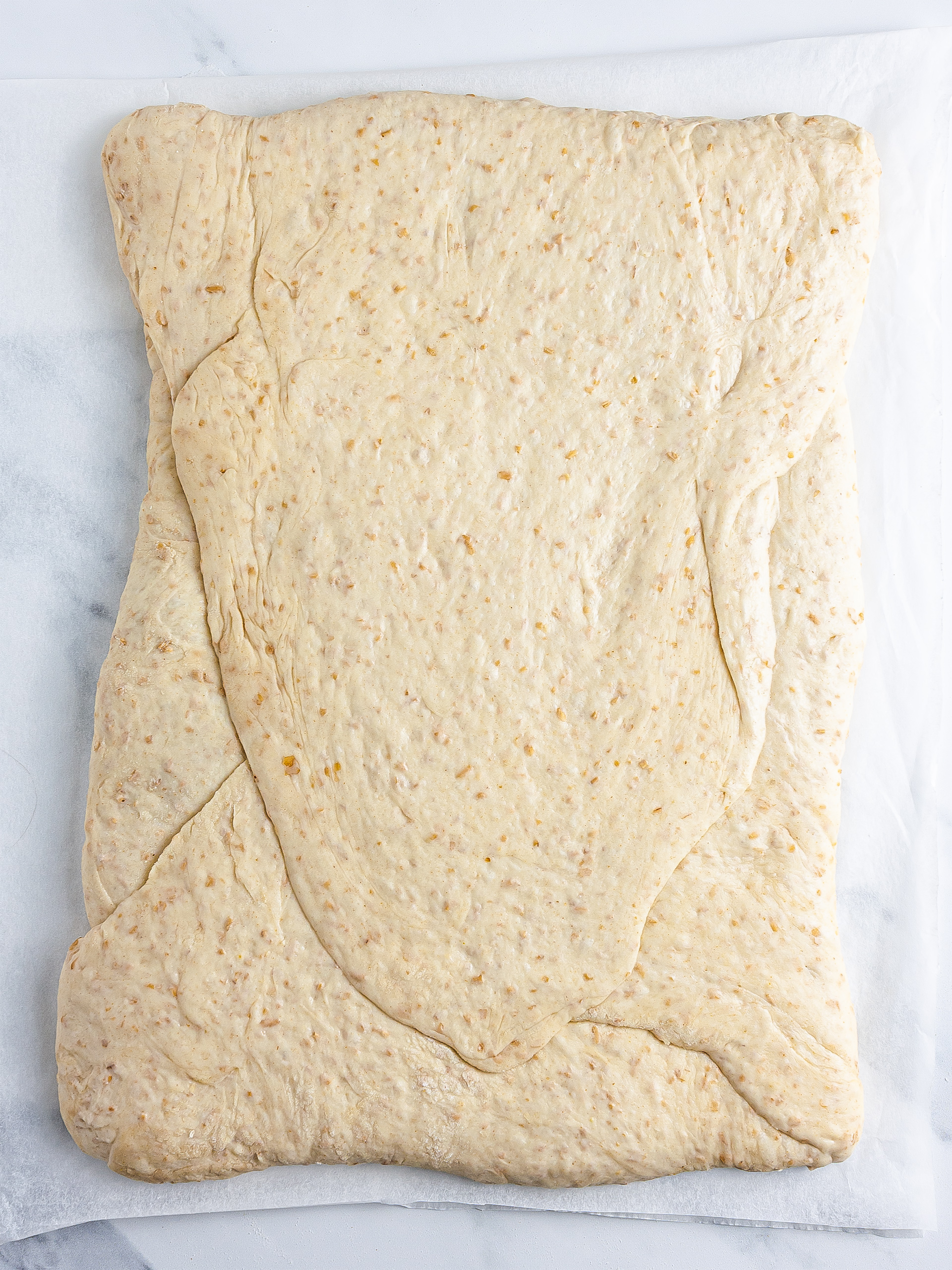 Folded croissant dough
