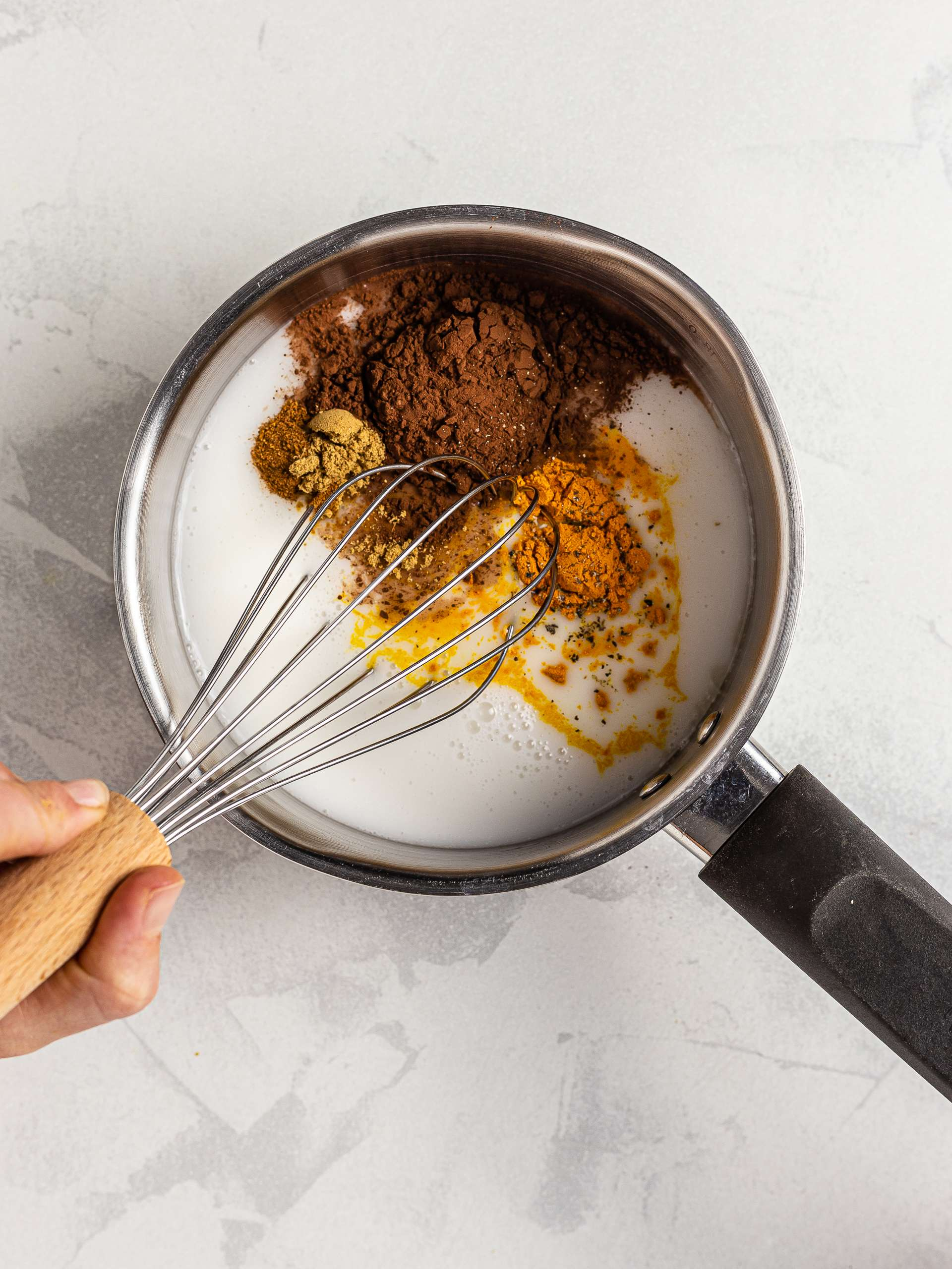 coconut mil with turmeric chocolate blend
