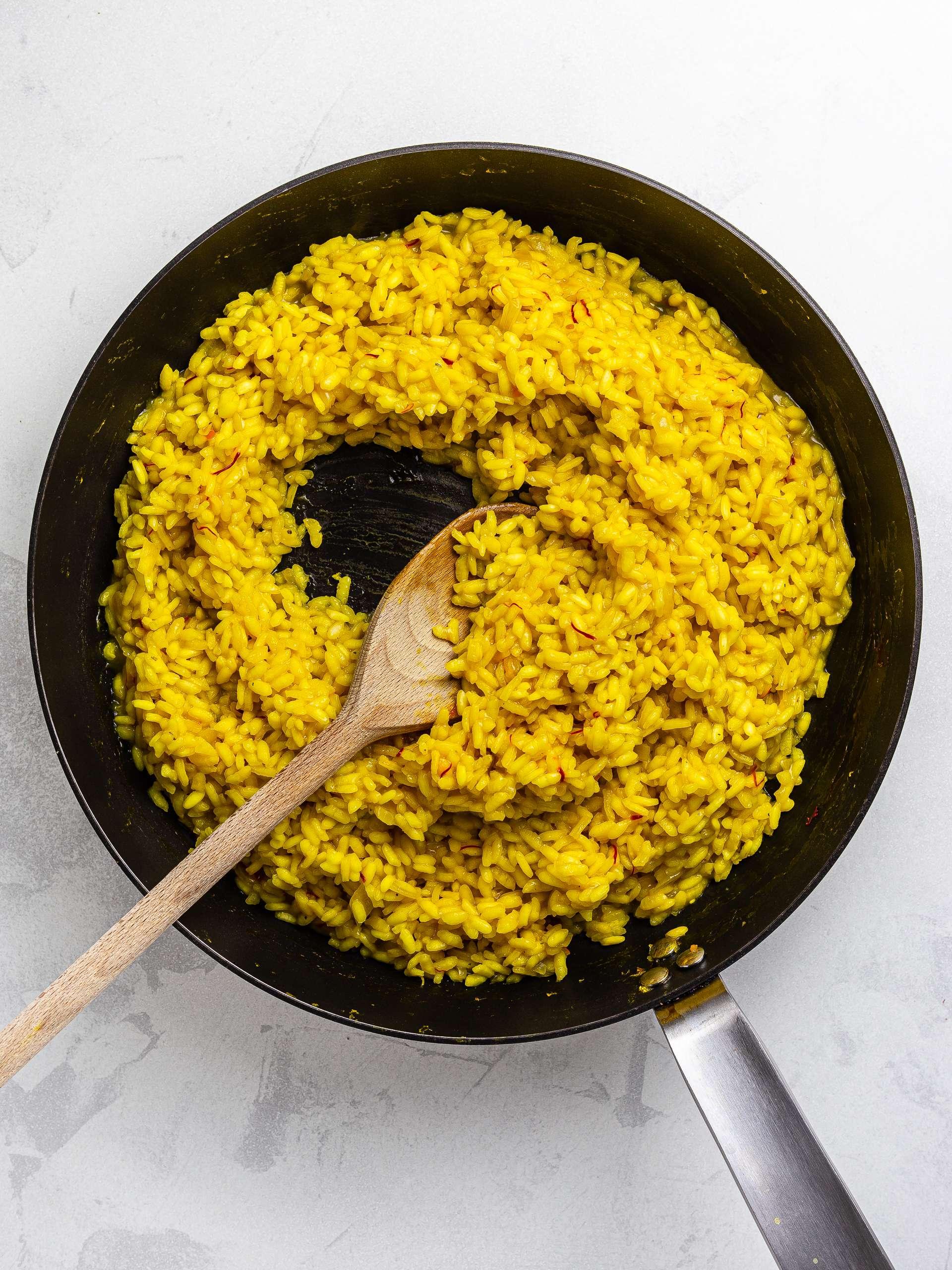 cooked saffron risotto