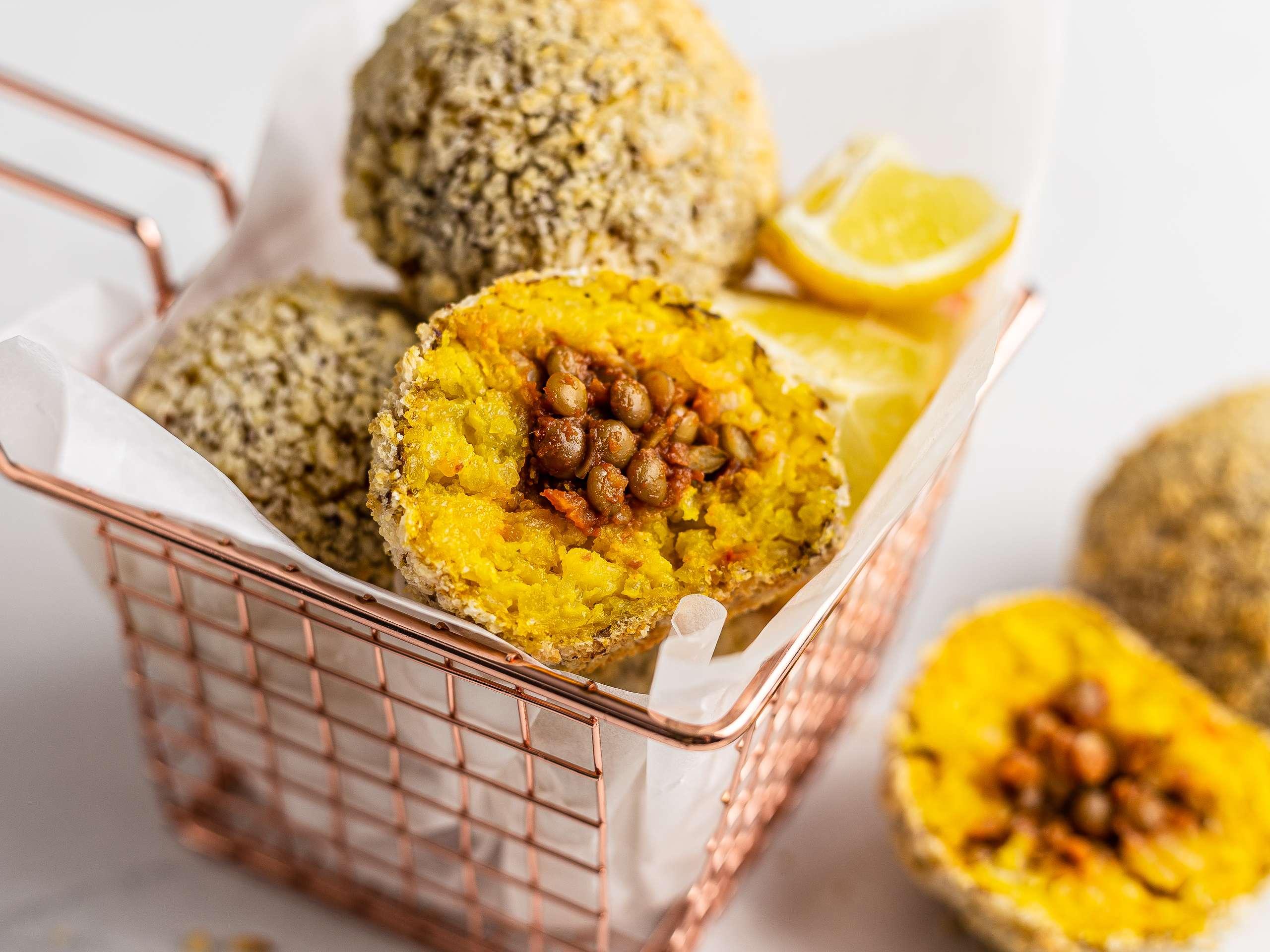 Vegan Lentil Bolognese Rice Balls