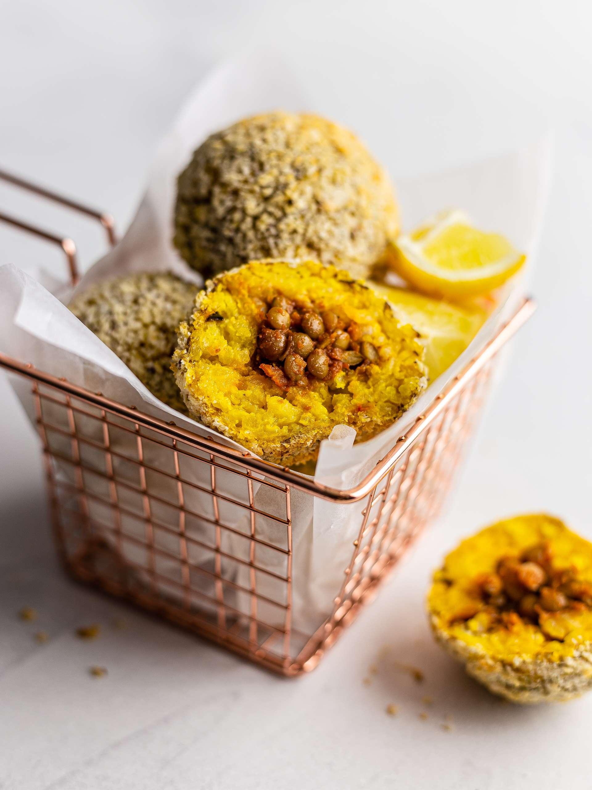 Vegan Lentil Bolognese Rice Balls Thumbnail