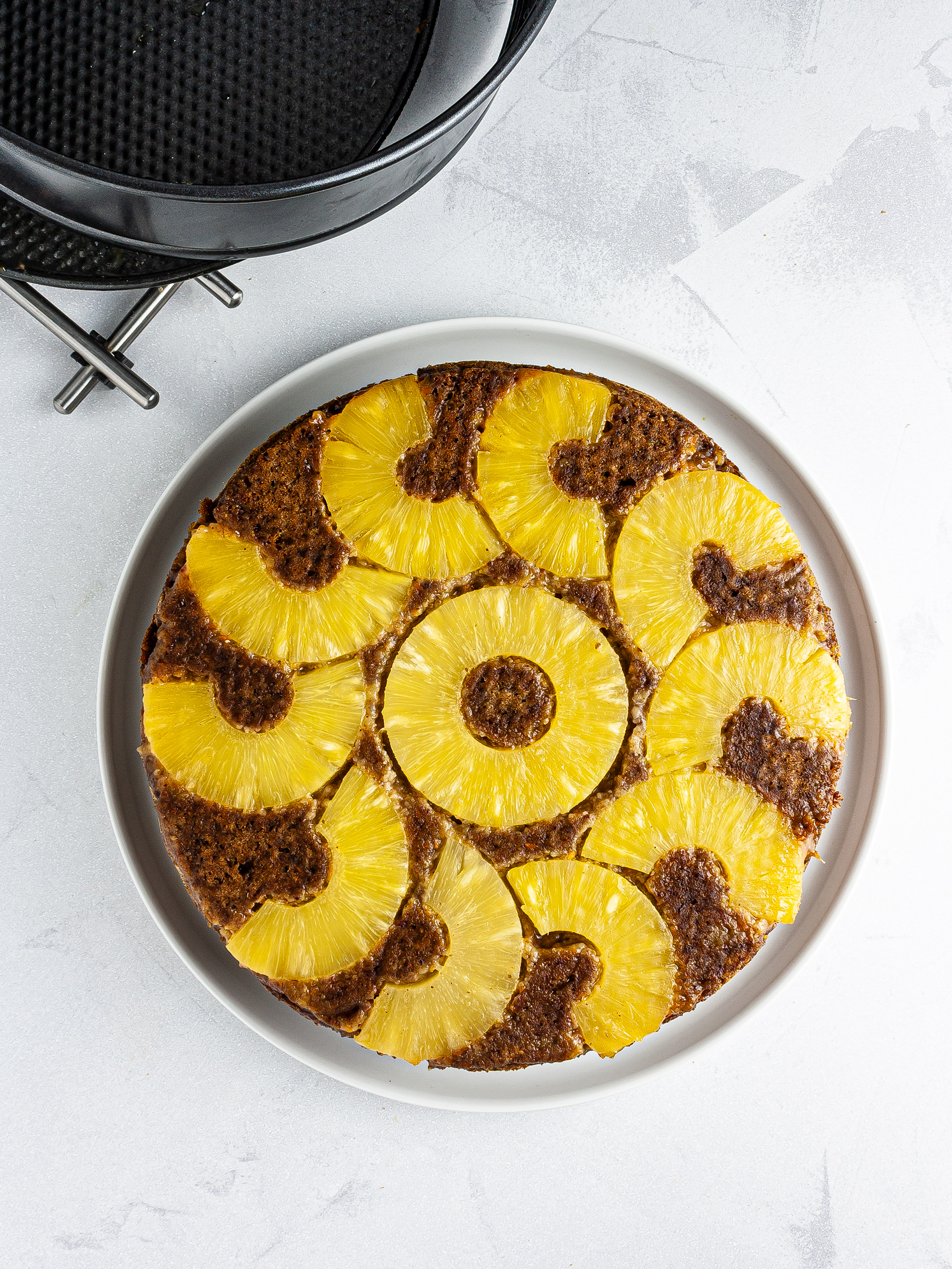Baked and flipped carrot pineapple cake.
