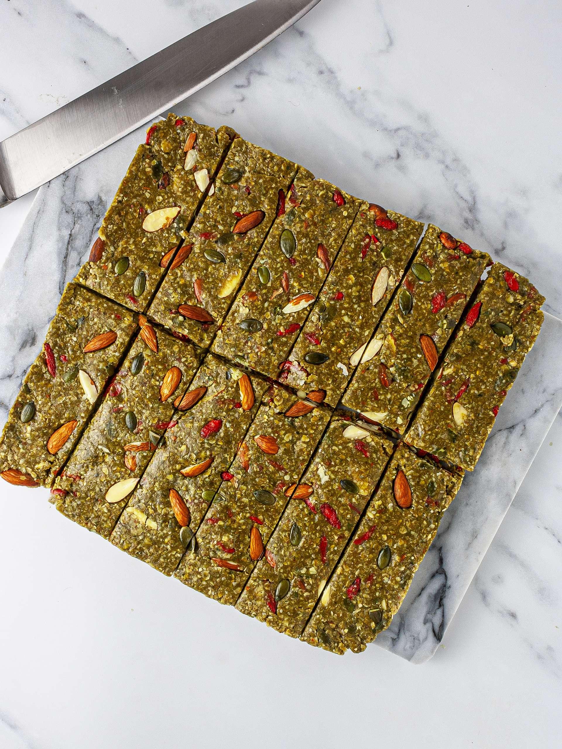 Matcha granola bars sliced into servings.