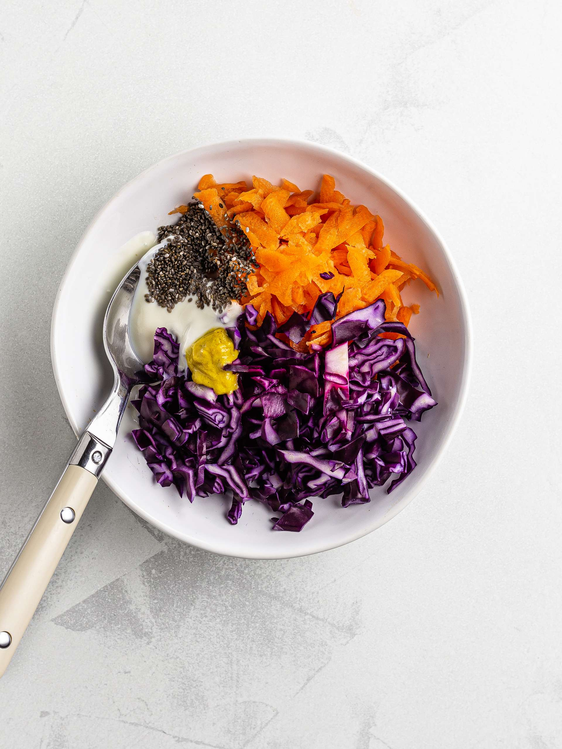 red cabbage coleslaw with chia seeds and yogurt