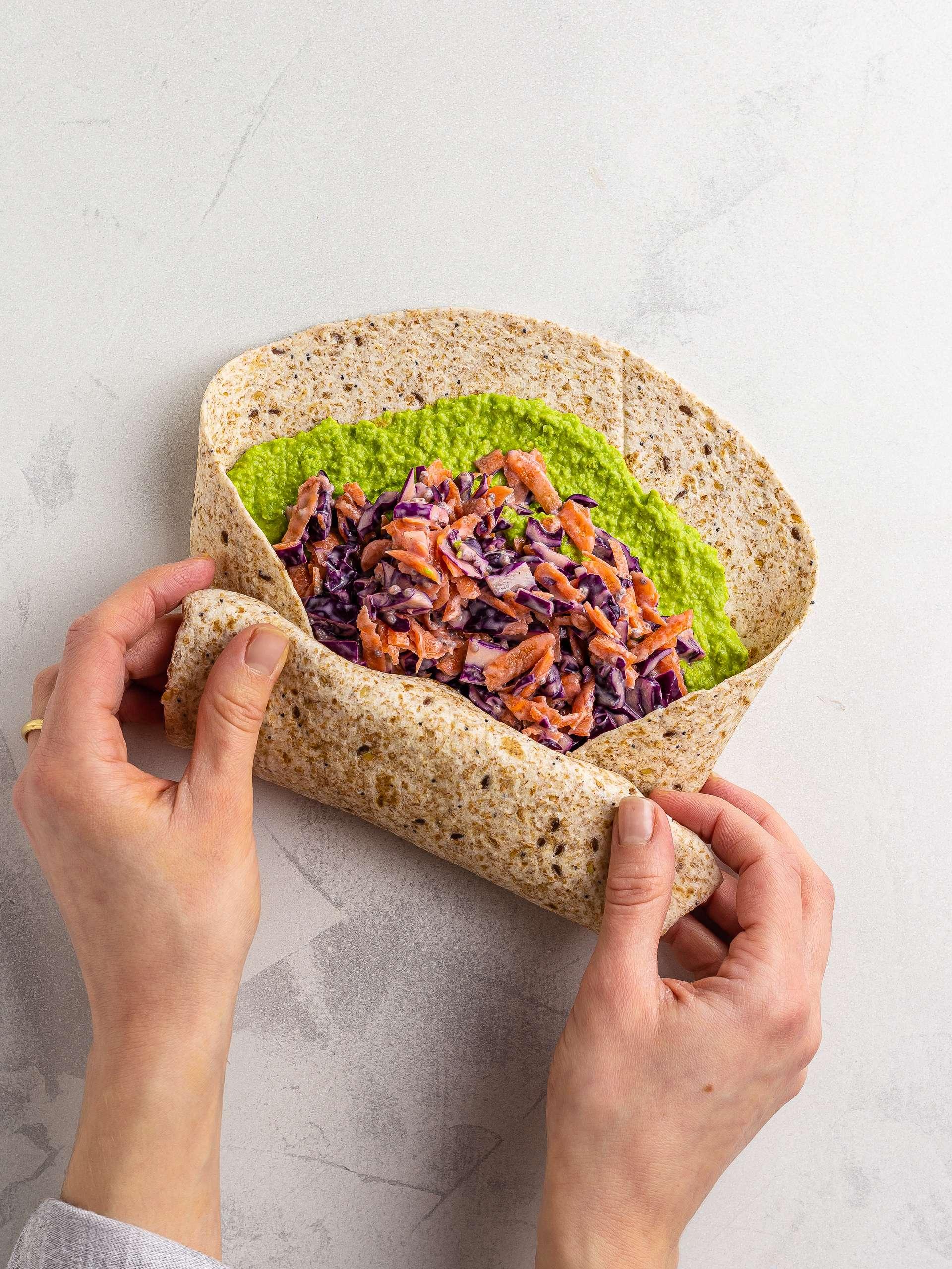 folding pea hummus wrap