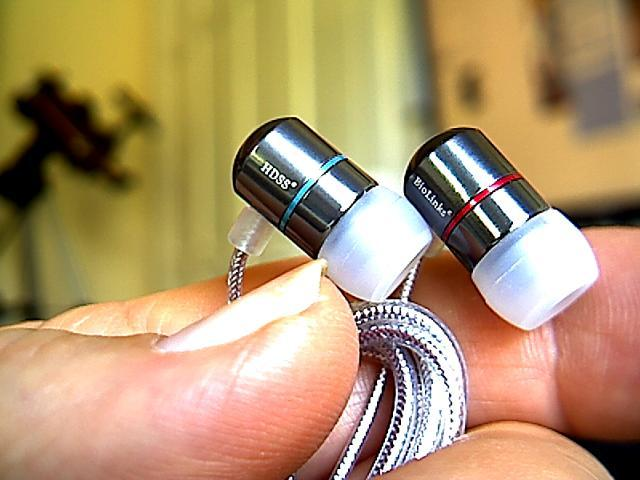 Detail of BioLinks Audio HDSS-27 IEM phones.  Note robust tangle-resistant cable.