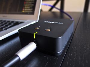 Arcam rPAC DAC and headphone amplifier, with a QED Precision USB cable.