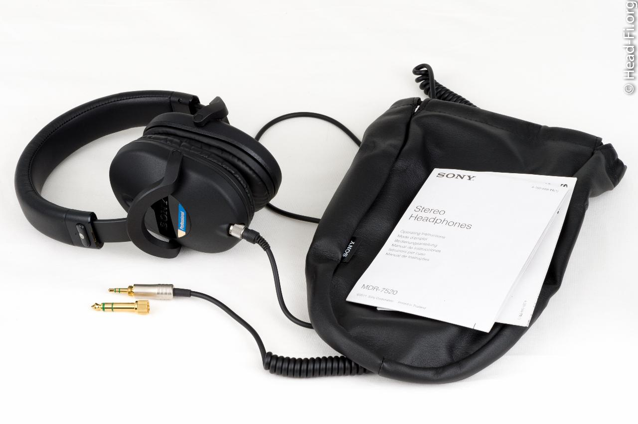"""Sony MDR-7520 with its 1/4"""" adapter, carrying pouch and documentation."""