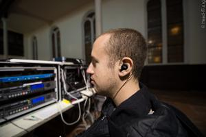 Chesky Records audio engineer Alex Sterling monitoring with his Ultimate Ears In-Ear Reference...