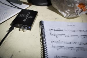 The ALO Audio Rx Mk3-B portable headphone amp was getting a bunch of use at the monitoring...