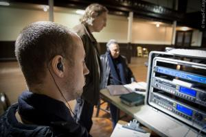 (left to right) Chesky Records audio engineer Alex Sterling monitoring with his Ultimate Ears...