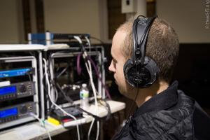 Chesky records audio engineer Alex Sterling monitoring with a very beat-up AKG K 240 DF.