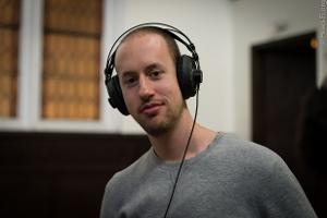 Chesky Records engineer Alex Sterling with his beat-up (but still nicely functioning) old AKG K...