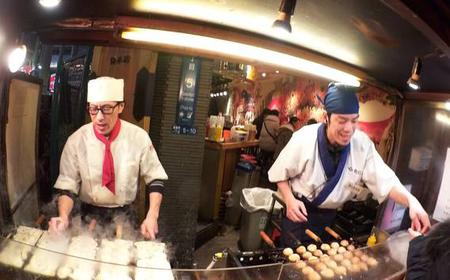Evening Street Food Hopping in Downtown Osaka