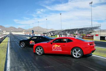 Side-by-Side Camaro Race At Charlotte Motor Speedway
