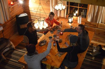 Autumn Dinner in a Wilderness Cottage by the Lake in Rovaniemi