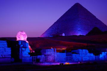 Sound and Light Show of Giza Pyramids of Cheops from Cairo