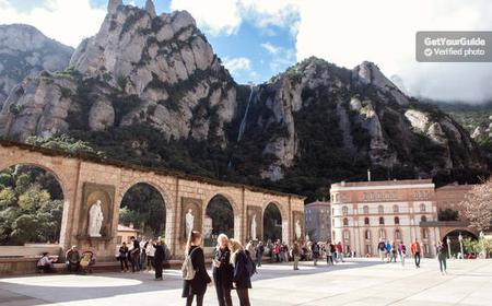 Montserrat Royal Basilica With Cog-Wheel Train or Bus