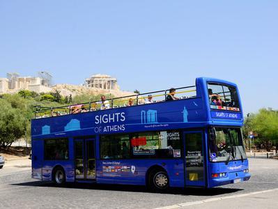 Athens Piraeus and Beaches Sightseeing Hop On Hop Off Ticket + Piraeus Mini Train Ticket Combo Ticket