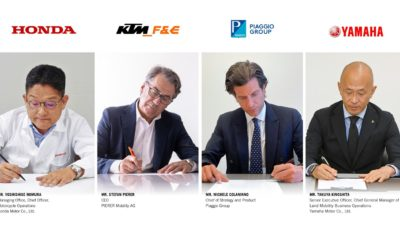 Piaggio Group, KTM, Honda and Yamaha sign consortium agreement for promotion of swappable batteries.