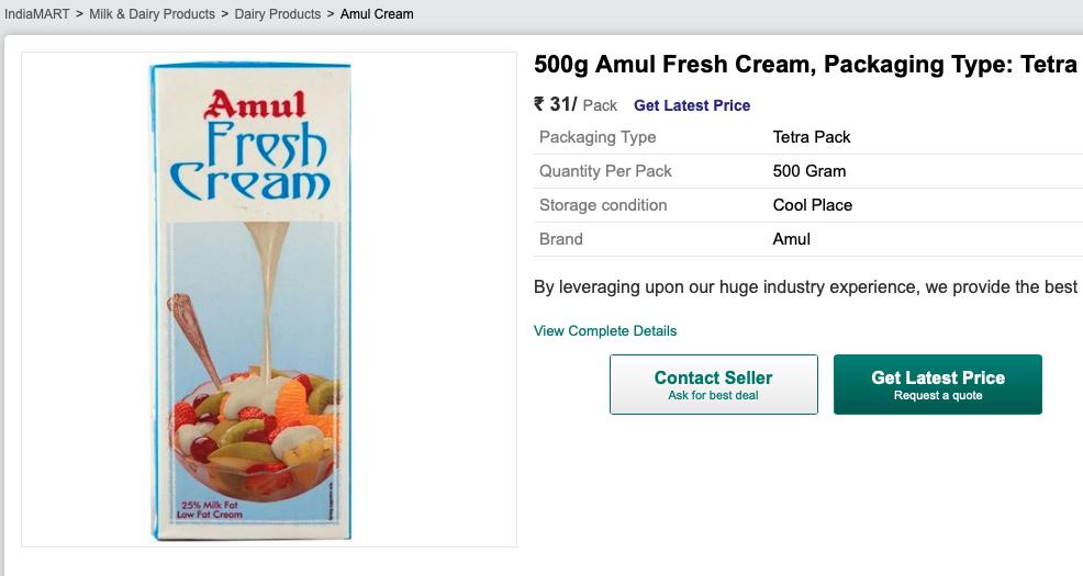 Indiamart Amul Fresh Cream