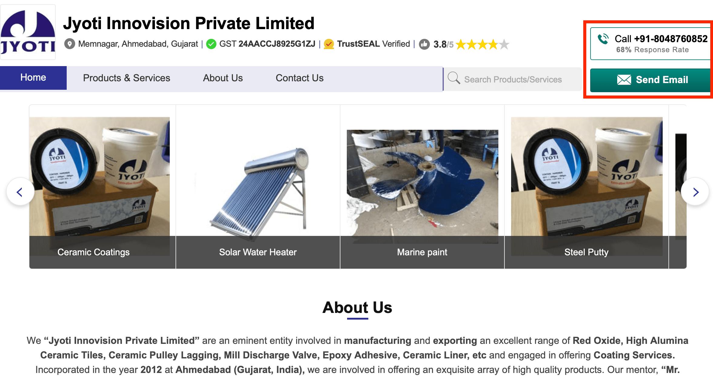 IndiaMART Company Profile Example
