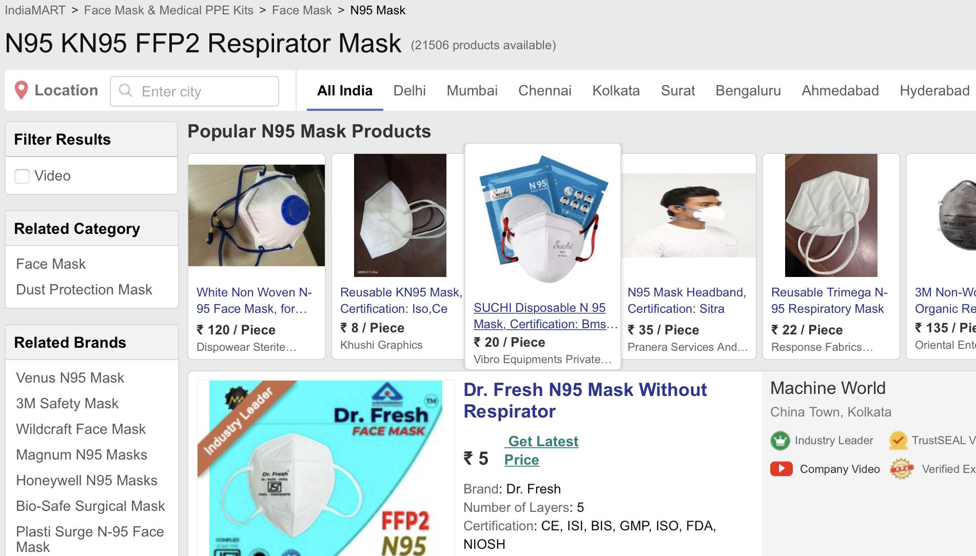 Indiamart N95 Respirator Mask