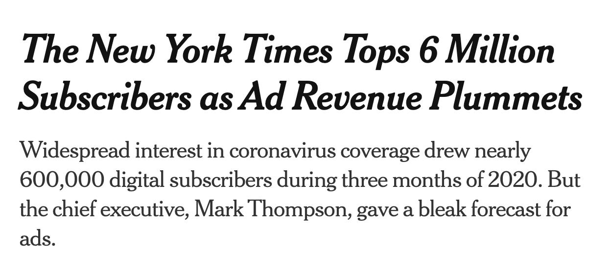 출처 https://www.nytimes.com/2020/05/06/business/media/new-york-times-earnings-subscriptions-coronavirus.html