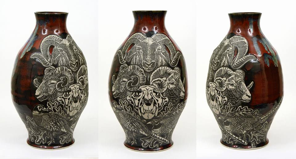 Ellie Anna Bryan, Fire Vase, porcelain, glaze, & slip