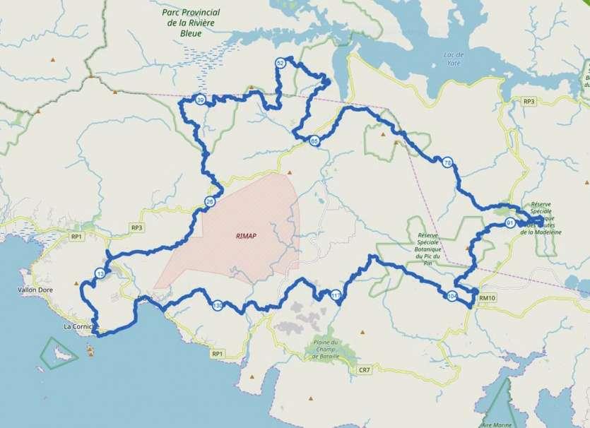 Le parcours de l'Ultra-Trail de Nouvelle-Calédonie. Photo OpenMap