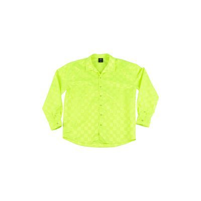 After Party Checkerboard Long Sleeve Shirt - Neon Green
