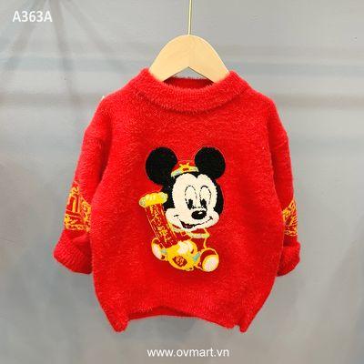 A363A-Áo Len Len Lông Đỏ Mickey-80(13-14kg)