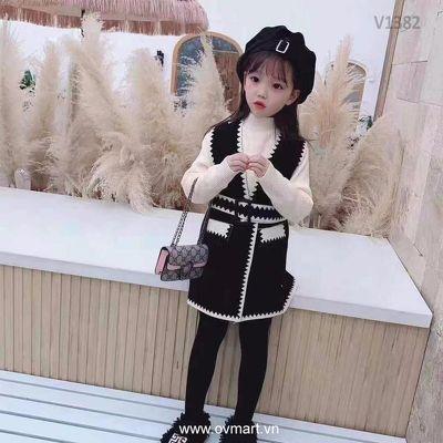 V1382- Váy Bé Gái - Váy Gile Len Đen Trắng