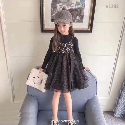 V1383- Váy Len Bé Gái Nhũ Đen