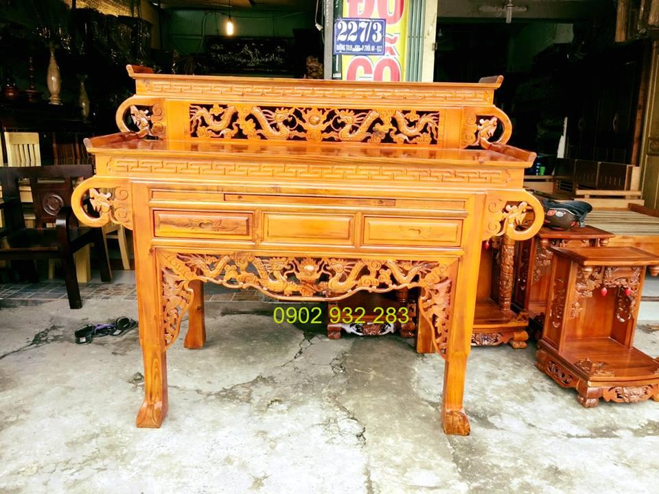 bàn thờ 2 tầng gỗ tay cuốn gỗ tràm