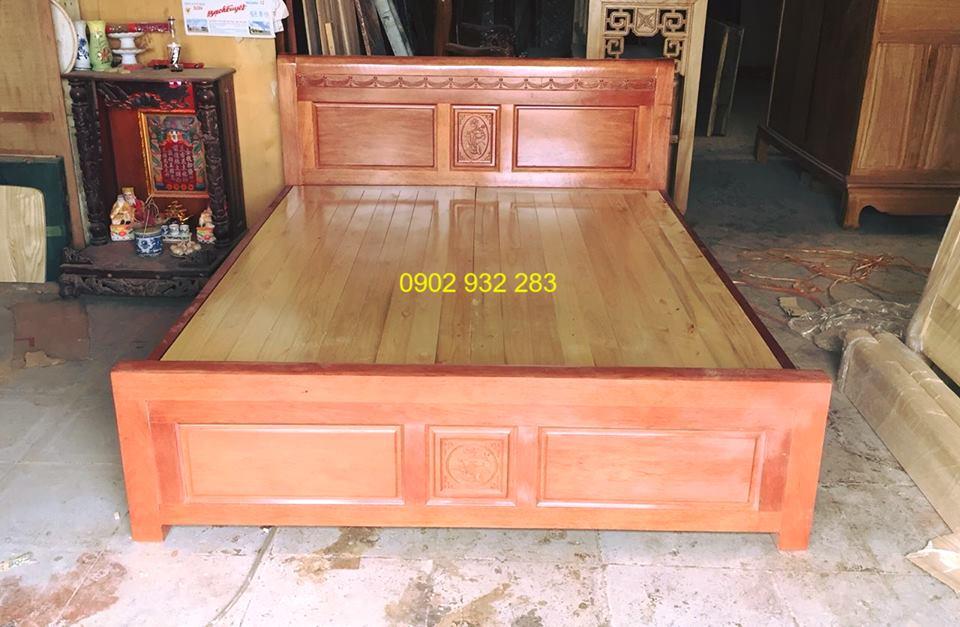 giường ngủ gỗ xoan đào dạt phản đẹp 1,6m