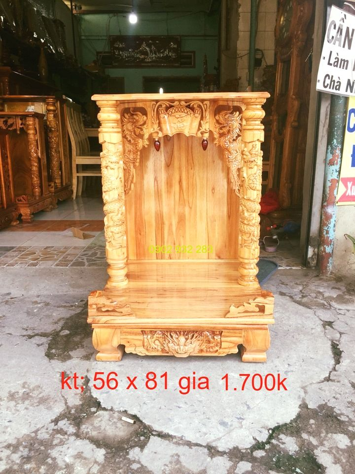 Bàn thờ ông địa gỗ xoan 56 x 81 . MS 1.7