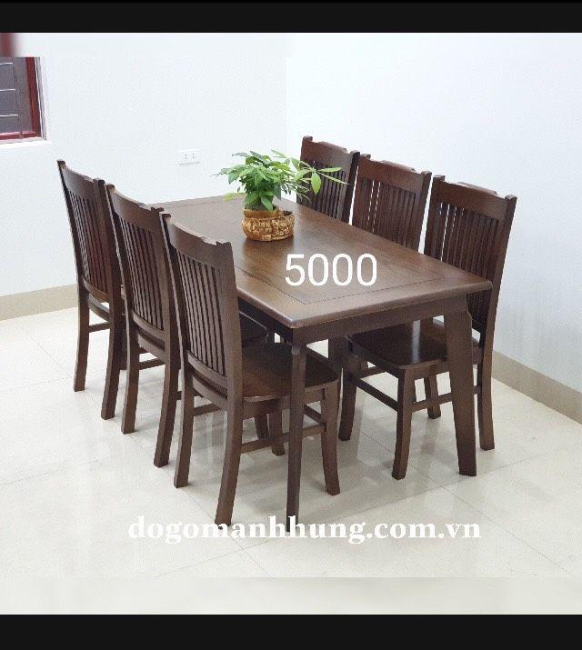 bộ bàn ăn 6 ghế gỗ sồi mầu óc chó MS 7.5