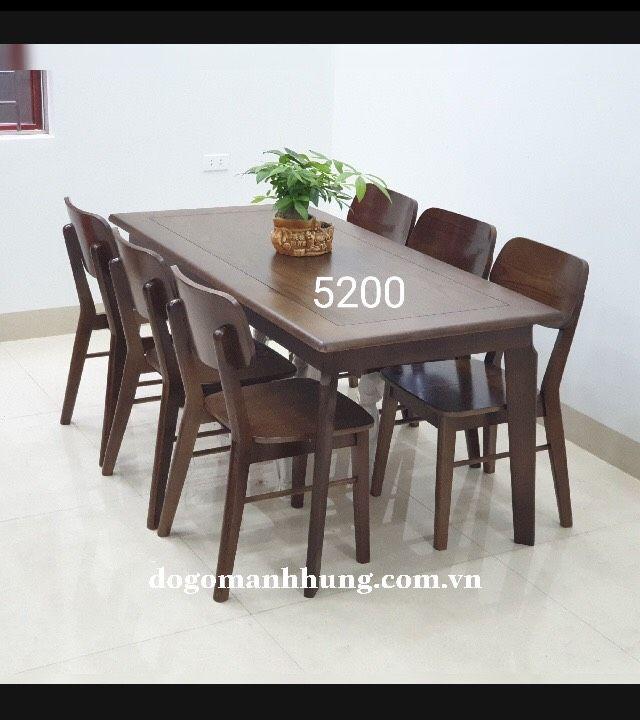Bộ bàn ăn 6 ghế gỗ sồi mầu óc chó MS 7.9